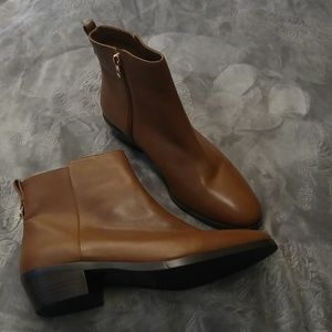Coach Leather Ankle Boots Brown Tan Booties